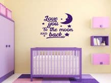 'Love You To The Moon And Back' Wall Art Sticker, Modern Transfer, PVC Decal