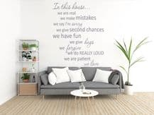In This House...' Wall Art Quote, Modern Vinyl Wall Sticker, Decal, Decoration
