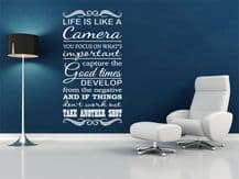 """Inspiring Wall Quote """"Life is a camera.."""" Wall Art Sticker, Vinyl, Decal."""
