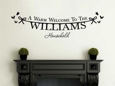 PERSONALISED Family Welcome To Our Home, Modern Wall Sticker, Decal