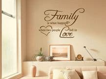 "Family Wall Quote ""Family Is What Happens..""  Wall Art Sticker, Decal, Transfer"