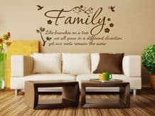 Family Wall Quote Like Branches on a Tree..  Vinyl Sticker Wall Home Mural Decal