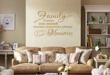 "Family Wall Quote ""Today's little moments become.."" Wall Art Sticker, Transfer."
