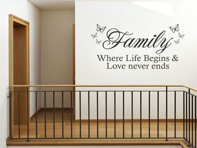 Family Where Life Begins & Love Never Wall Art Sticker Quote - Vinyl Wall Decal