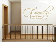Family Where life Begins Wall Art Quote - Wall Sticker, Decal, Modern Transfer