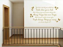 """Homely """"Smile when you're sad..."""" Wall Sticker, Adhesive, Vinyl, Art, Decal"""