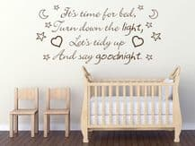 It's time for bed, Turn down the... Childs Nursery Wall Art Quote Sticker Decal