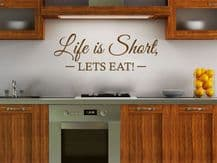 """Kitchen Wall Quote """"Let's Eat"""" Wall Art Sticker, Vinyl Decal, Modern Transfer."""
