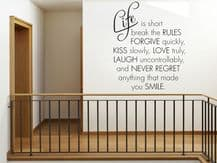 Life Is Short Break The Rules - Wall Art Quote, Modern Vinyl Wall Sticker,