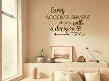 Motivational 'Every Accomplishment' Inspiration, Wall Quote, Wall Sticker, Decal