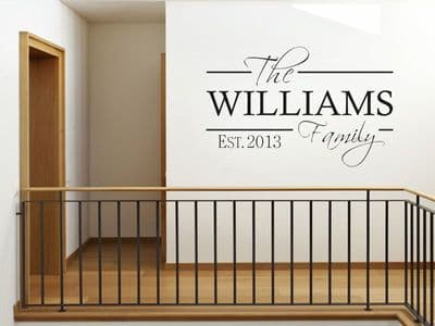 PERSONALISED Family Wall Art Quote & Date, Modern Wall Sticker, Decal, Transfer