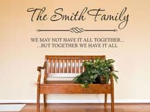 PERSONALISED Family Wall Quote, Wall Art Sticker, Modern Decal, Vinyl Transfer