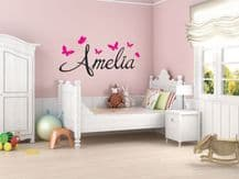 PERSONALISED Name With Butterflies Wall Art Sticker, Modern Decal , Vinyl