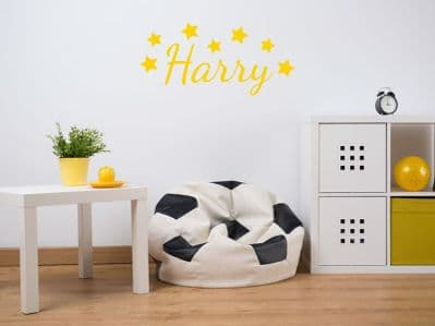 PERSONALISED Name With Stars Wall Art Sticker, Modern Decal , Vinyl