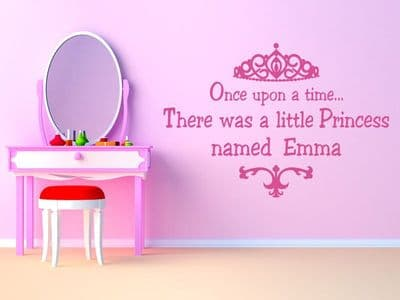 Personalised Princess Wall Art Sticker - Once upon a time....Decal, Transfer