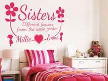 PERSONALISED Sisters Names Wall Sticker, Wall, Art, Decal, PVC Transfer, Girls