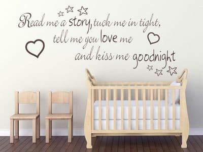 Read me a story, tuck me in tight.. Childs Nursery Wall Art Quote Sticker Decal