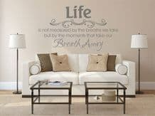 """Vinyl Wall Quote """"Life Is Not Measured.."""" Modern Wall Sticker, Decal, Transfer"""