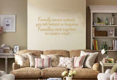 Wall Art Sticker, Family Means Nobody gets... Wall Quote, Decal, Modern Transfer