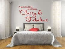 "Wall Quote - ""A girl should be two things..."" Wall Art Sticker, Decal, Art"