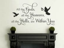 """Wall Quote """"All the Gods..."""" Sticker Decal Decor Transfer Quote Modern Art Vinyl"""