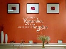 Wall Quote 'As Long As I Remember' Wall Art Sticker Decal Art Decor Adhesive