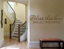 """Wall Quote """"Bless This Home.."""" Wall Art Sticker, Modern Vinyl Transfer, Decal."""