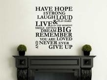 """Wall Quote """"Have Hope, Be Strong..""""  Wall Art Sticker, Vinyl Decal, Transfer."""