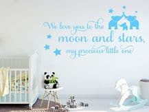 "Wall Quote - ""We love you to the moon and stars..."" Wall Art Sticker, Decal, Art"