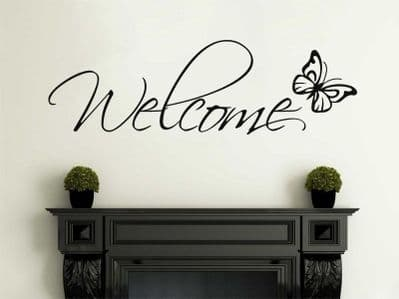 Welcome Wall Art With Butterfly,  Wall Art Sticker, Decal, Vinyl StickerTransfer