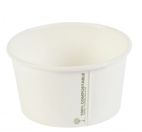 12oz White Bio degradable soup containers - please note lids are sold separately