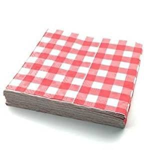 25 Recycled Biodegradable Red Gingham Tablecovers