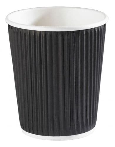 8oz Black Ripple Wall Paper Cup