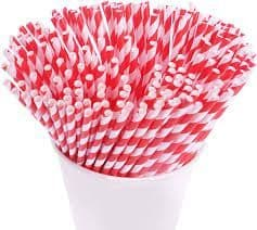 Biodegradable Red and white stripe Paper Drinking Straws 200x6mm