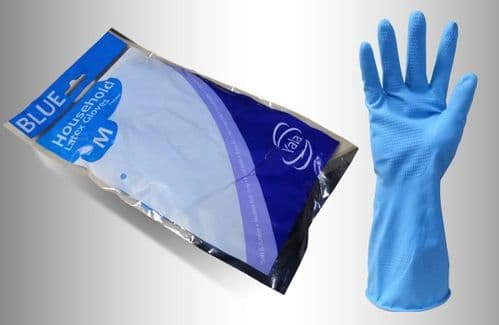 Blue Household Washing Up Gloves (12 pairs) - Choose  Your Size
