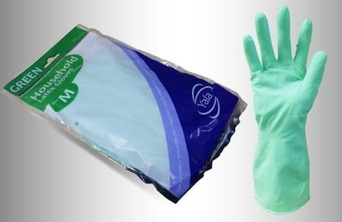 Green Household Washing Up Gloves (12 pairs) - Choose Your Size
