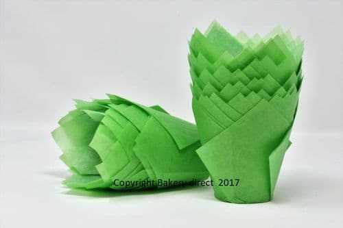 Green Tulip Muffin Wraps / Cases - Choose your amount