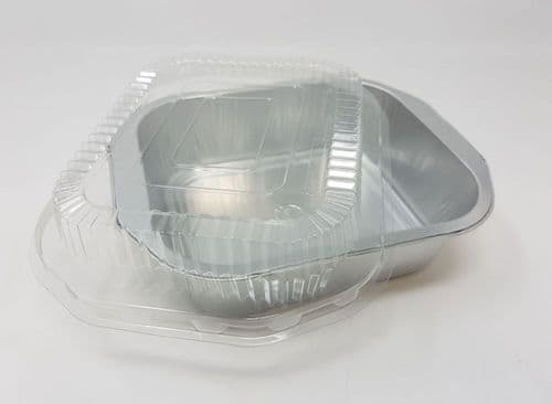 Rigid SINGLE PORTION Strong Foil Food Trays - Available with or without  clear snap on lids