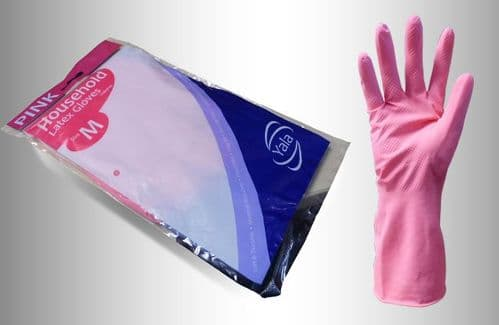 Pink Household Washing Up Gloves (12 pairs) - Choose Your Size