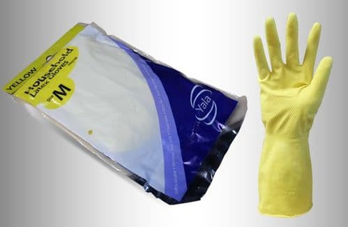 Yellow Household Washing Up Gloves (12 pairs) - Choose Your Amount
