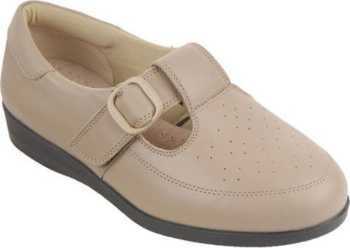 Cosyfeet UE05 Extra Roomy (6E Fitting) Catherine Leather Touch-Fastening Shoe - Taupe