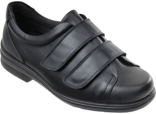 Cosyfeet YY Extra Roomy (3H Fitting) Bart Leather Touch-Fastening Shoe