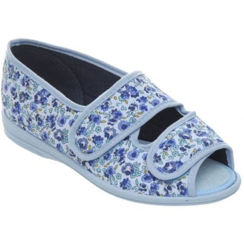 Cosyfeet H4 Extra Roomy (6E Fitting) Milly Fabric Touch-Fastening Slipper-Sandal