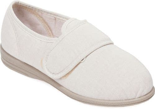 Cosyfeet J1 Extra Roomy (6E Fitting) Jilly Fabric Touch-Fastening Slipper-Shoe