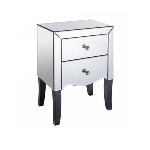 Axe 192 (Clear Glass Mirrored 2 Drawer Bedside Cabinet)