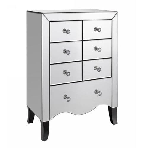 Axe 192 (Clear Glass Mirrored 6+1 Drawer Chest)