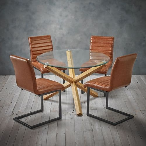 AXE DT142 Dining table (Medium) & AXE CH(2) Chairs(Tan) From Denelli