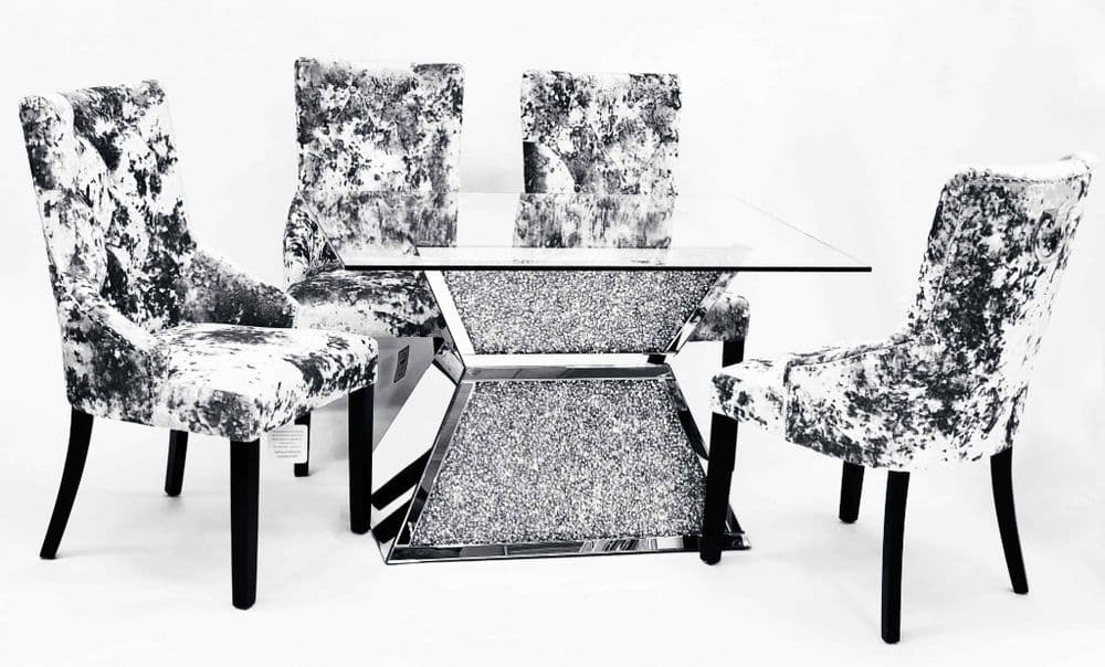 Crushed Diamond Dining Table T-6 with 6 Chairs - CDS315