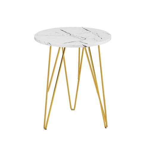 lamp Table AXE 159 White Marble Effect  By Denelli