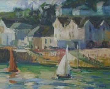 Andrew Tozer Original Acrylic Painting A Cornish Harbour Scene